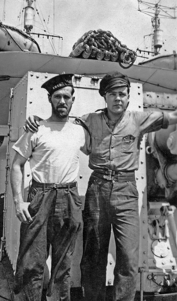 Fred Hollands and unidentified friend on HMCS Skeena