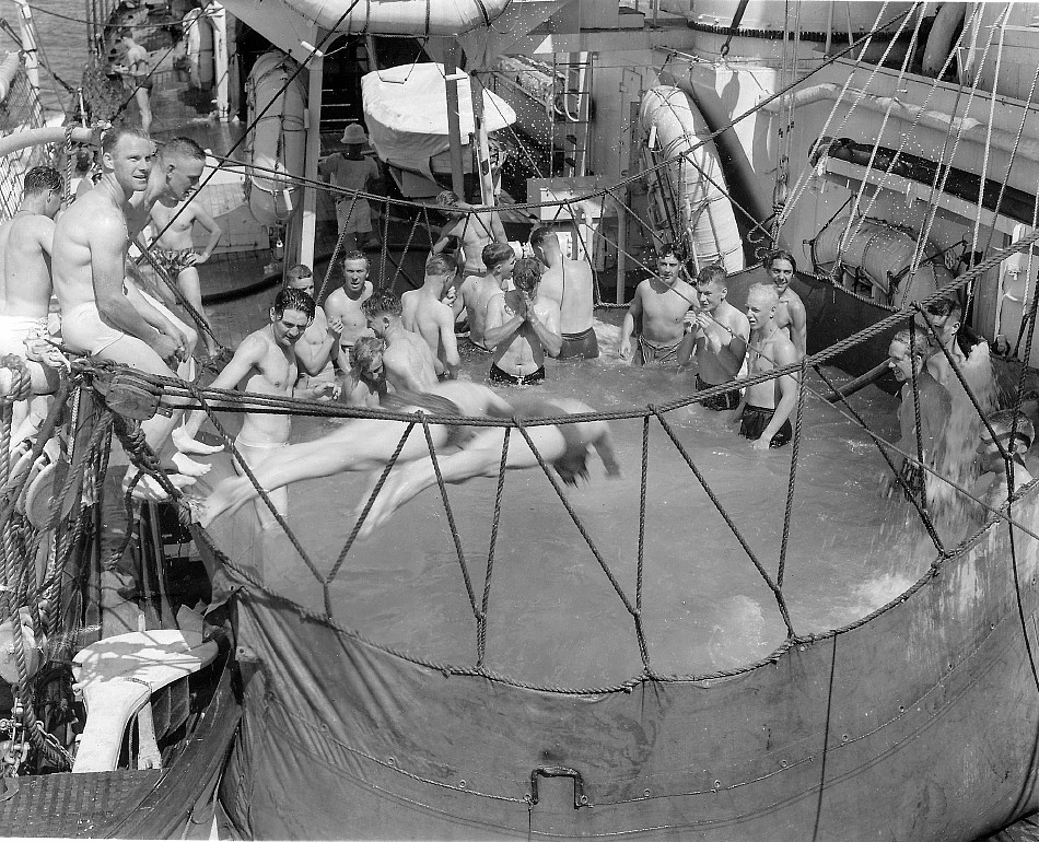 Royal Canadian Navy : Swimming pool on HMCS Prince Robert.